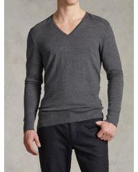 John Varvatos Merino V-Neck Sweater - Lyst
