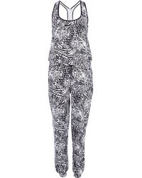 River Island Black Animal Print Jersey Jumpsuit - Lyst