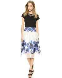 Milly Floral Mirage Print Skirt - Blue - Lyst