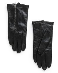 Mango Zip Leather Gloves - Lyst