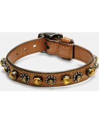 COACH | Medium Leather Oval Crystal Bracelet | Lyst