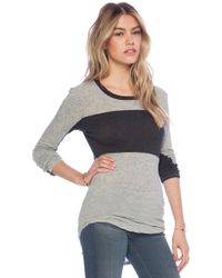 James Perse Colorblock Skinny Crew Neck - Lyst