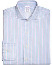 Brooks Brothers Supima Cotton Noniron Regular Fit Spread Collar Twill Alternating Tonal Stripe Luxury Dress Shirt - Lyst