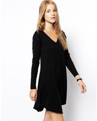 Asos Knitted Swing Dress with Vneck - Lyst