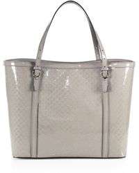 Gucci Nice Microssima Patent Leather Tote beige - Lyst