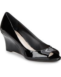 Vince Camuto Sassie Patent Leather Peep-Toe Wedges - Lyst