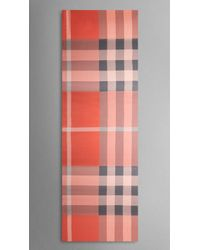 Burberry Check Silk Satin Scarf - Lyst