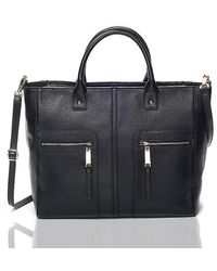 Tommy Hilfiger Leather Zipper Convertible Tote - Lyst