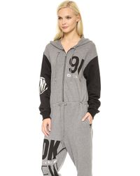 Opening Ceremony - Colorblocked Long Sleeve Hooded Jumpsuit Heather Greyblackwhite - Lyst