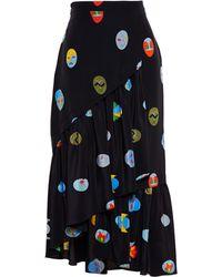 Stella McCartney Silk Superheroes Midi Skirt - Lyst