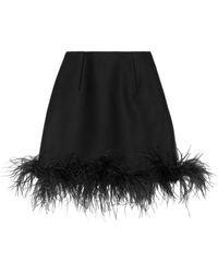 Lanvin Feathertrimmed Woolblend Mini Skirt - Lyst