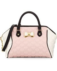 Betsey Johnson Be My Bow Colorblock Large Satchel Bag pink - Lyst