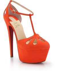 Christian Louboutin Cutout Suede Platform T-Strap Sandals - Lyst