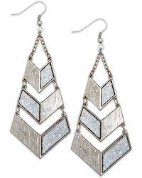 Material Girl - Silvertone Glitter Geometric Drop Earrings - Lyst