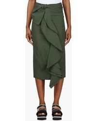 Marni Green Washed Cloquet Skirt - Lyst