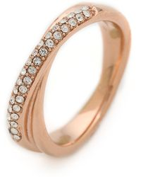 Michael Kors Pave Crossover Ring Rose Goldclear - Lyst