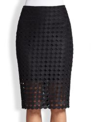 Alexis Cesar Cutout Embroidered-Dot Pencil Skirt - Lyst