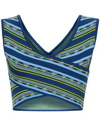 BCBGMAXAZRIA Madysyn Striped Bandage Crop Top - Lyst