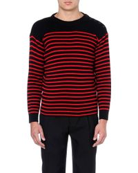 Saint Laurent Striped Wool-blend Jumper - For Men black - Lyst