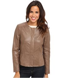 Calvin Klein Seamed Leather Jacket - Lyst