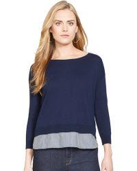 Lauren by Ralph Lauren Petite Layered Look Crewneck Sweater - Lyst