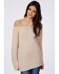 Missguided Off Shoulder Ripple Stitch Jumper Vanilla - Lyst