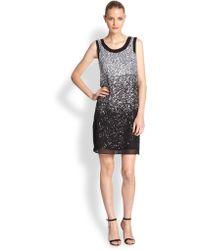 Shoshanna Silk Georgette Sequined Dress black - Lyst