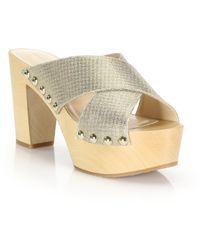 Diane von Furstenberg | Seville Metallic Crisscross Platform Slide Sandals | Lyst
