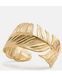 Coach Gold Feather Cuff - Lyst