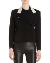 Helmut Lang Contrast Leather Collar Zip Jacket - Lyst