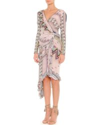 Etro Ribbon-Pprint Asymmetric Long-Sleeve Wrap Dress - Lyst