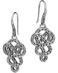 John Hardy Classic Chain Silver Braided Drop Earrings - Lyst