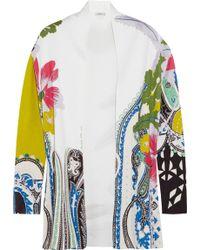 Etro Floral-Print Silk Cardigan - Lyst