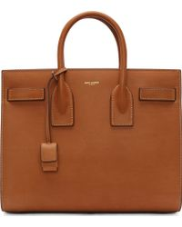 Saint Laurent Cognac Leather Sac Du Jour Small Tote Bag - Lyst