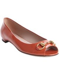 Gucci Rust Patent Leather Peep Toe Flats - Lyst
