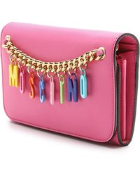 Moschino Leather Wallet - Pink - Lyst