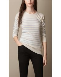 Burberry Breton Stripe Cashmere Blend Sweater - Lyst