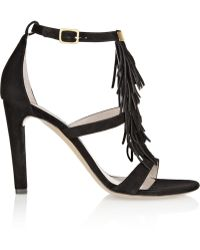 Chloé Fringed Suede Sandals - Lyst