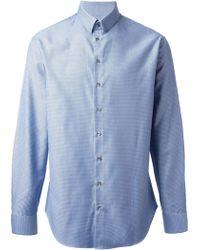 Giorgio Armani Blue Printed Shirt - Lyst