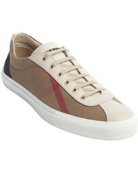 Burberry Brown Canvas Nova Check Printed Lace Up Sneakers - Lyst