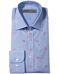 Etro Shirt New Warrant Striped Embroidered Paisley - Lyst