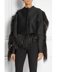 Lanvin Feathertrimmed Woolblend Jersey Jacket - Lyst