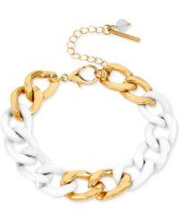 Steve Madden White And Gold-Tone Link Chain Bracelet - Lyst