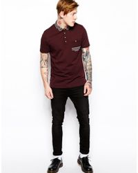 Asos Smart Polo with Woven Trims - Lyst
