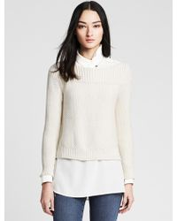 Banana Republic Seed-Stitch Cropped Pullover - Lyst