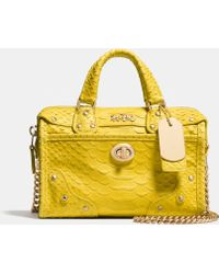 Coach Rhyder Satchel 18 In Python Embossed Leather - Lyst