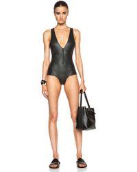Mikoh Swimwear Neoprene Front Zip One Piece black - Lyst