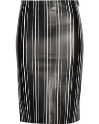 Title A - Striped Leather Pencil Skirt - Lyst