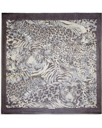 Ferragamo Abstract Leopard-Print Scarf gray - Lyst
