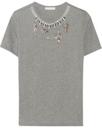 Matthew Williamson Embellished Marled Cotton-blend T-shirt - Lyst